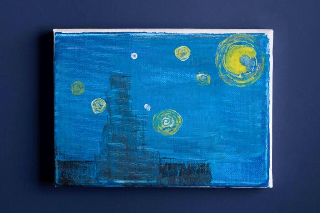 יצירה בהשראה- ליל כוכבים של ואן גוך _רחוב האמן